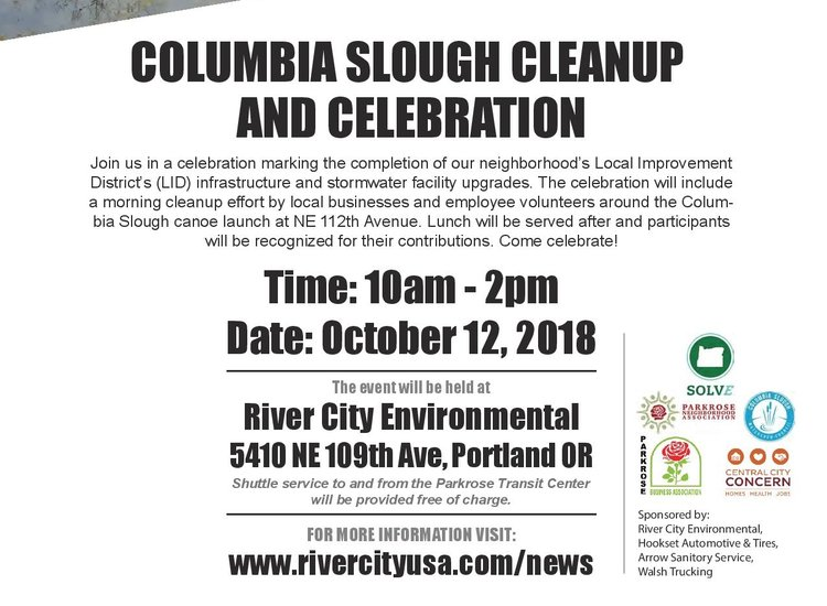 Sloughper Friday, October 12th, LID Celebration and Columbia Slough Cleanup